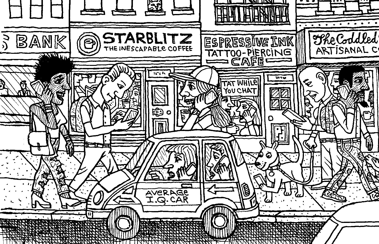 cartoon drawing of a city street by Mark Alan Stamaty