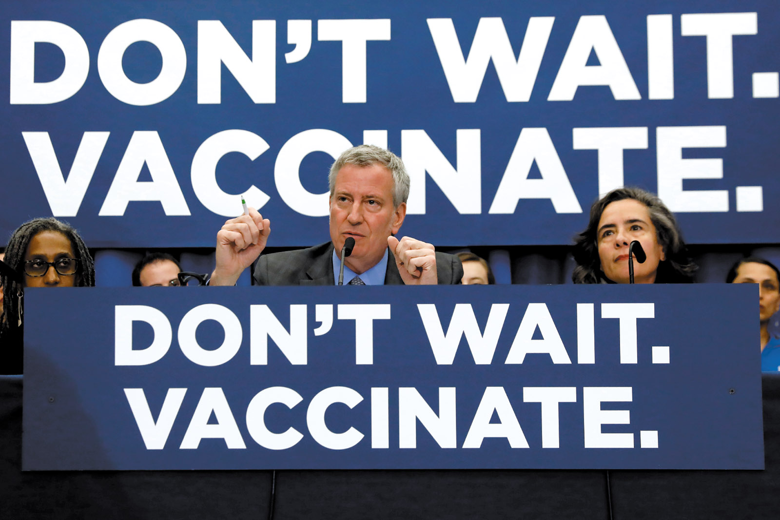 Bill de Blasio at a news conference declaring a public health emergency in parts of Brooklyn, April 2019