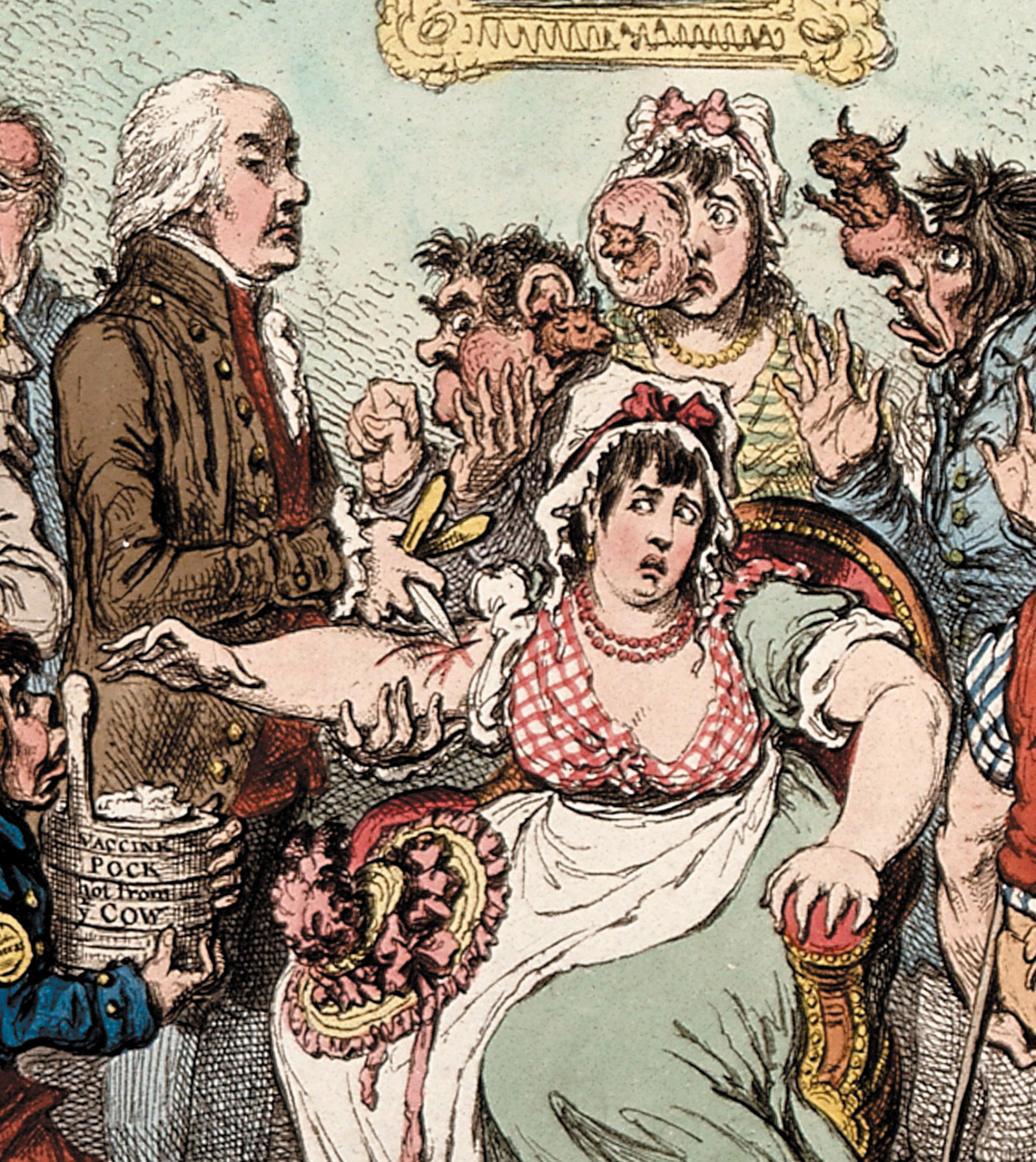 James Gillray's cartoon of Dr. Edward Jenner vaccinating patients, 1802