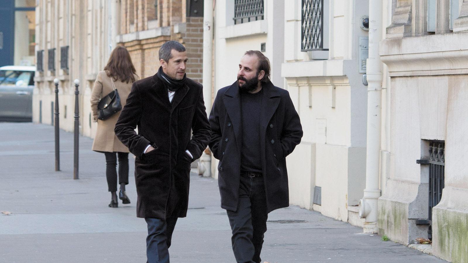 Guillaume Canet (left) as Alain and Vincent Macaigne as Léonard in Non-Fiction