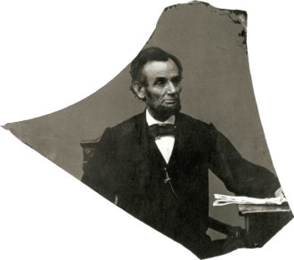 Abraham Lincoln, Washington, D.C., April 1864; photograph by Anthony Berger, printed from a broken negative