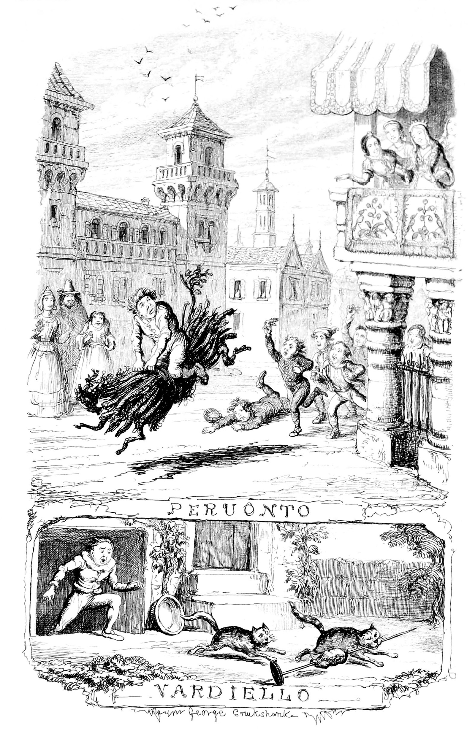 An engraving for Basile's tales, 1848