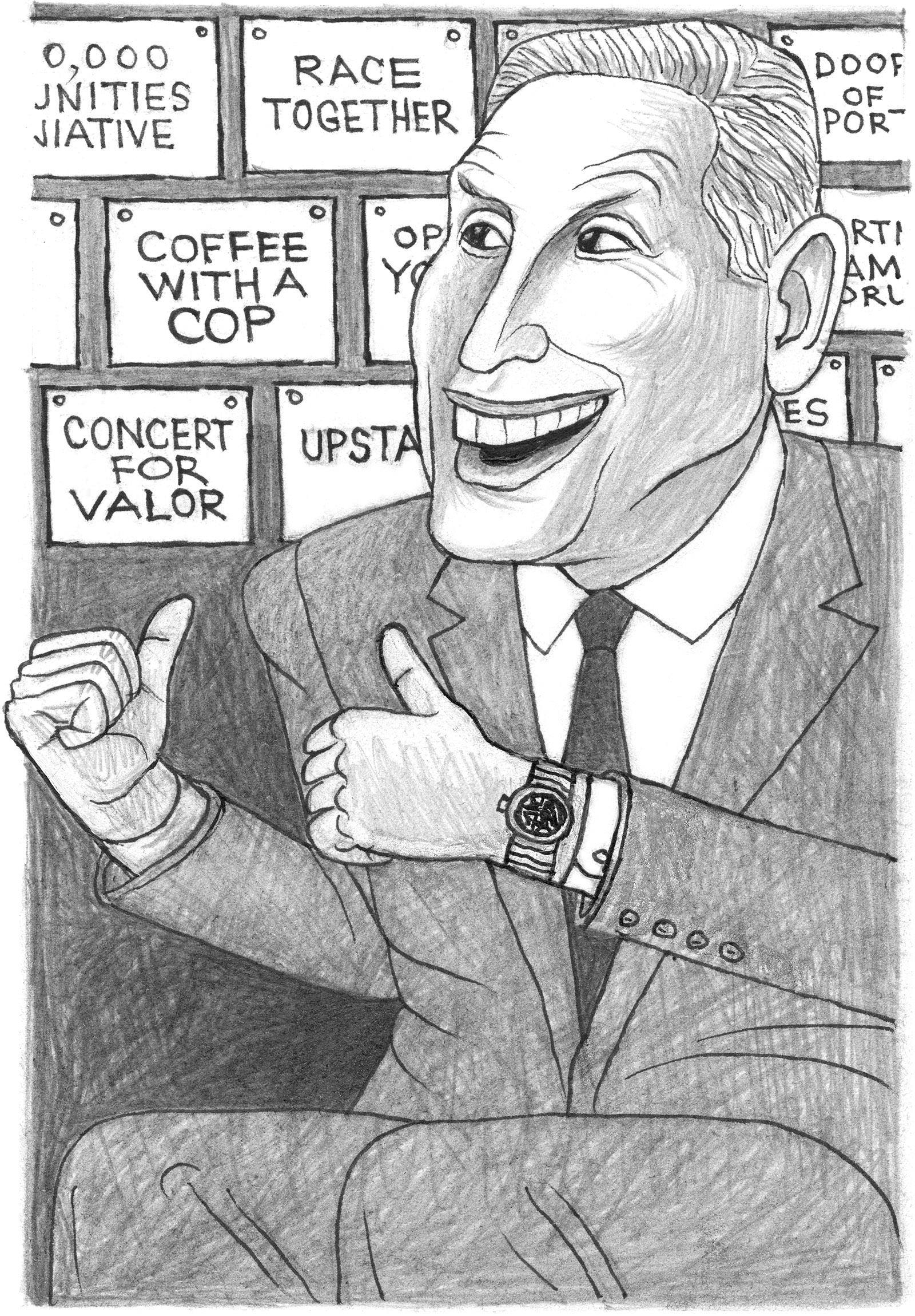 Howard Schultz; drawing by Mark Alan Stamaty