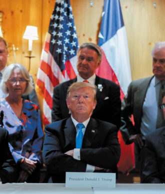 President Trump at a discussion of the US–Mexico border during a fund-raising roundtable with campaign donors, San Antonio, Texas, April 2019