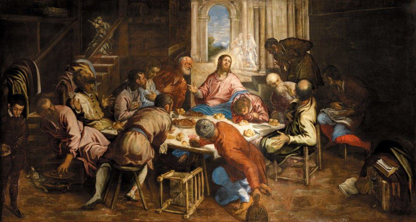 Jacopo Tintoretto: The Last Supper, 87 x 162 5/8 inches, circa 1563–1564