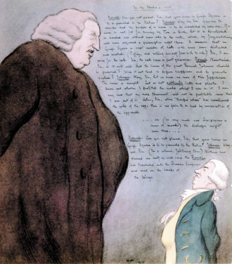 'In the Shades'; drawing of Samuel Johnson and James Boswell by Max Beerbohm, 1915
