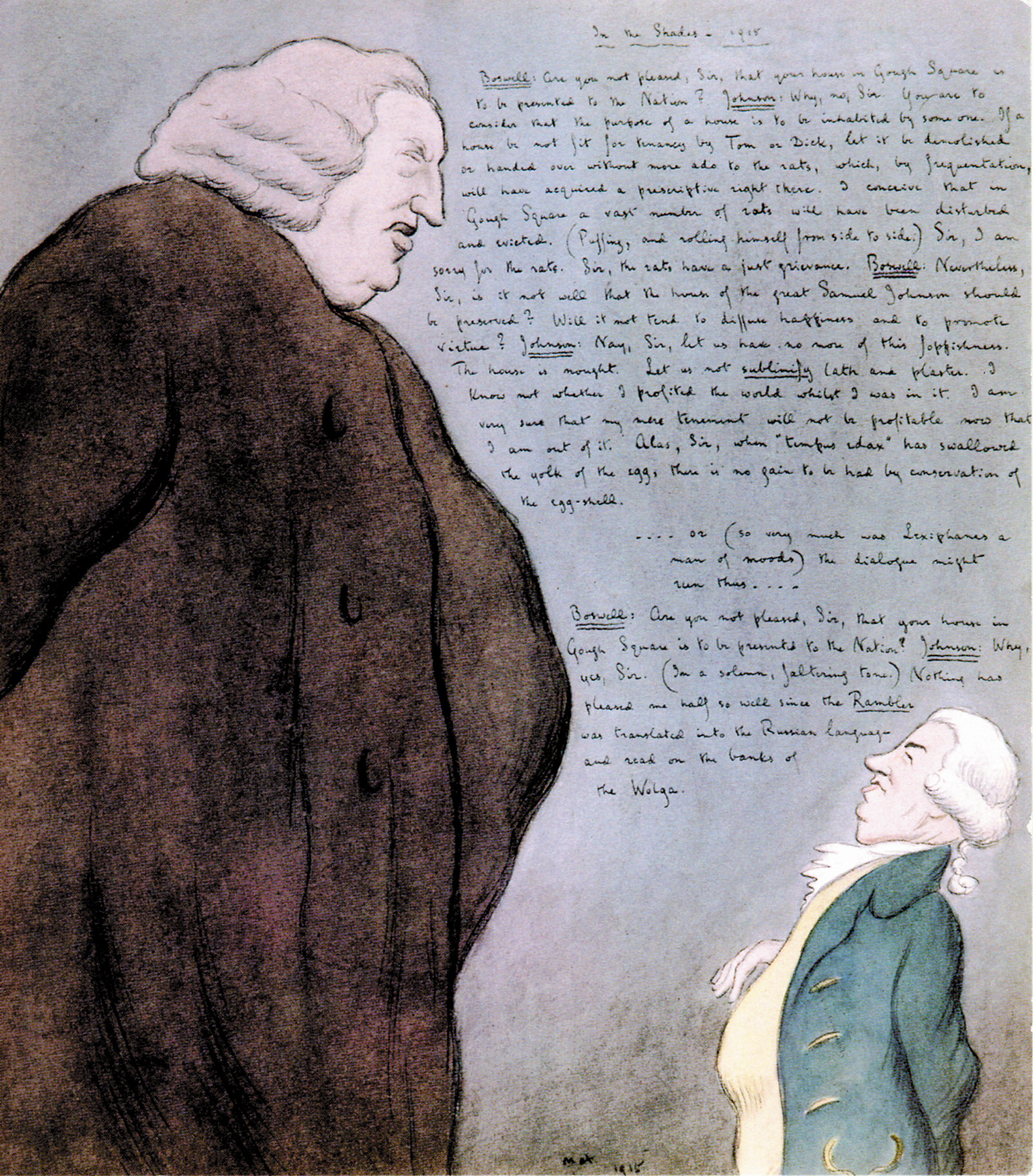 drawing of Samuel Johnson and James Boswell by Max Beerbohm