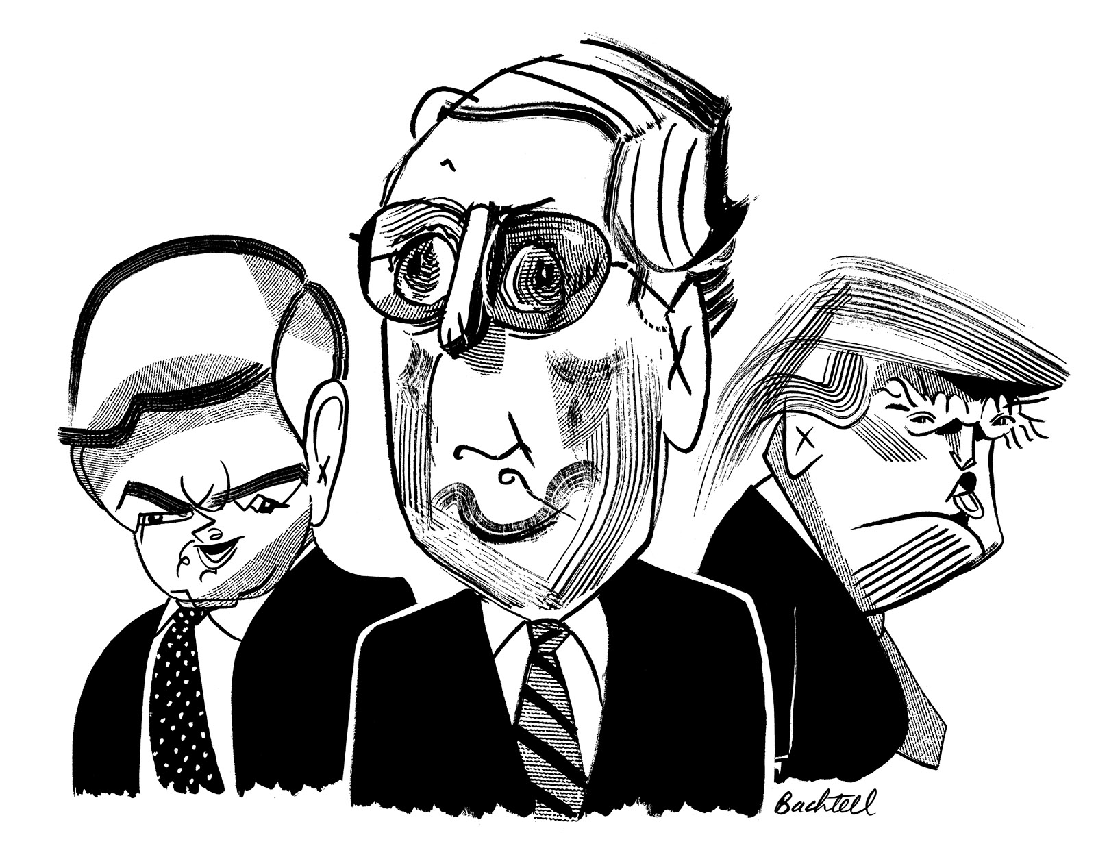 Newt Gingrich, Mitch McConnell, and Donald Trump