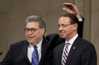 Attorney General William Barr with Deputy Attorney General Rod Rosenstein during Rosenstein's farewell ceremony at the Justice Department, Washington, D.C., May 9, 2019