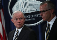 Former Attorney General Jeff Sessions and Acting FBI Director Andrew McCabe during a news conference at the Justice Department, Washington, D.C., July 13, 2017