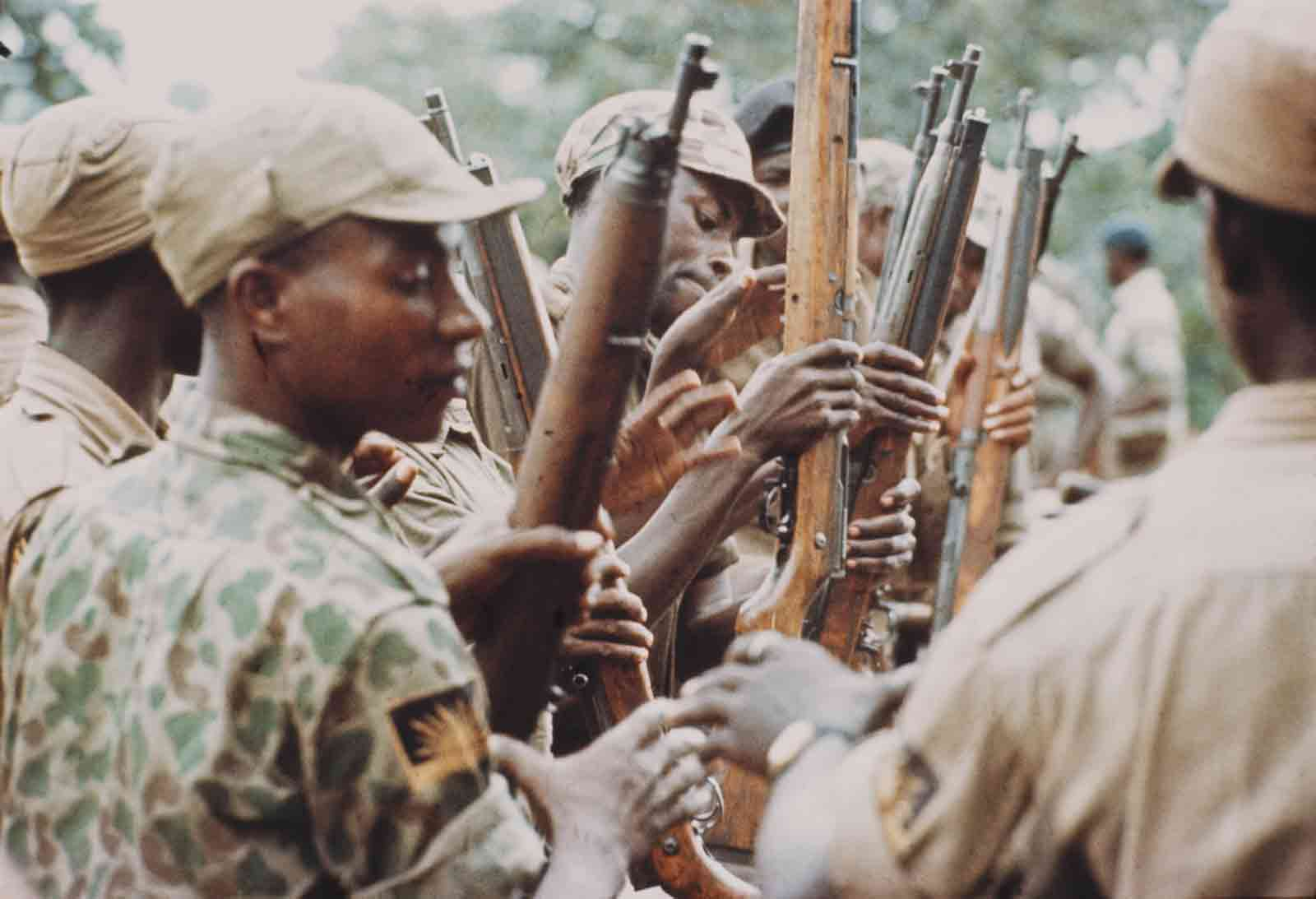 Young soldiers training to fight for the Republic of Biafra in the Biafran War, Nigeria, August 1968