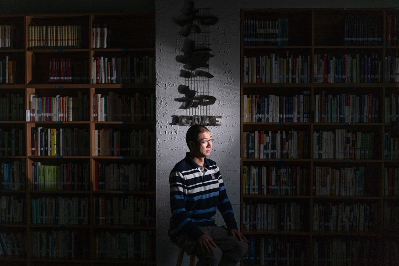 Chen Hongguo in Zhiwuzhi, the reading room he established in Xi'an, China, 2018