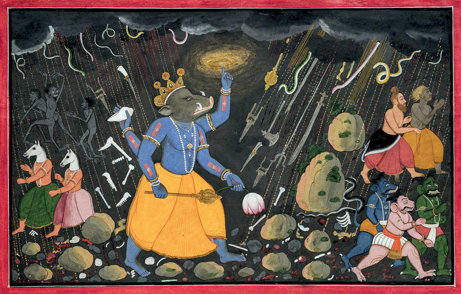 Varaha, the boar avatar of Vishnu, surrounded by illusions created by the demon Hiranyaksha