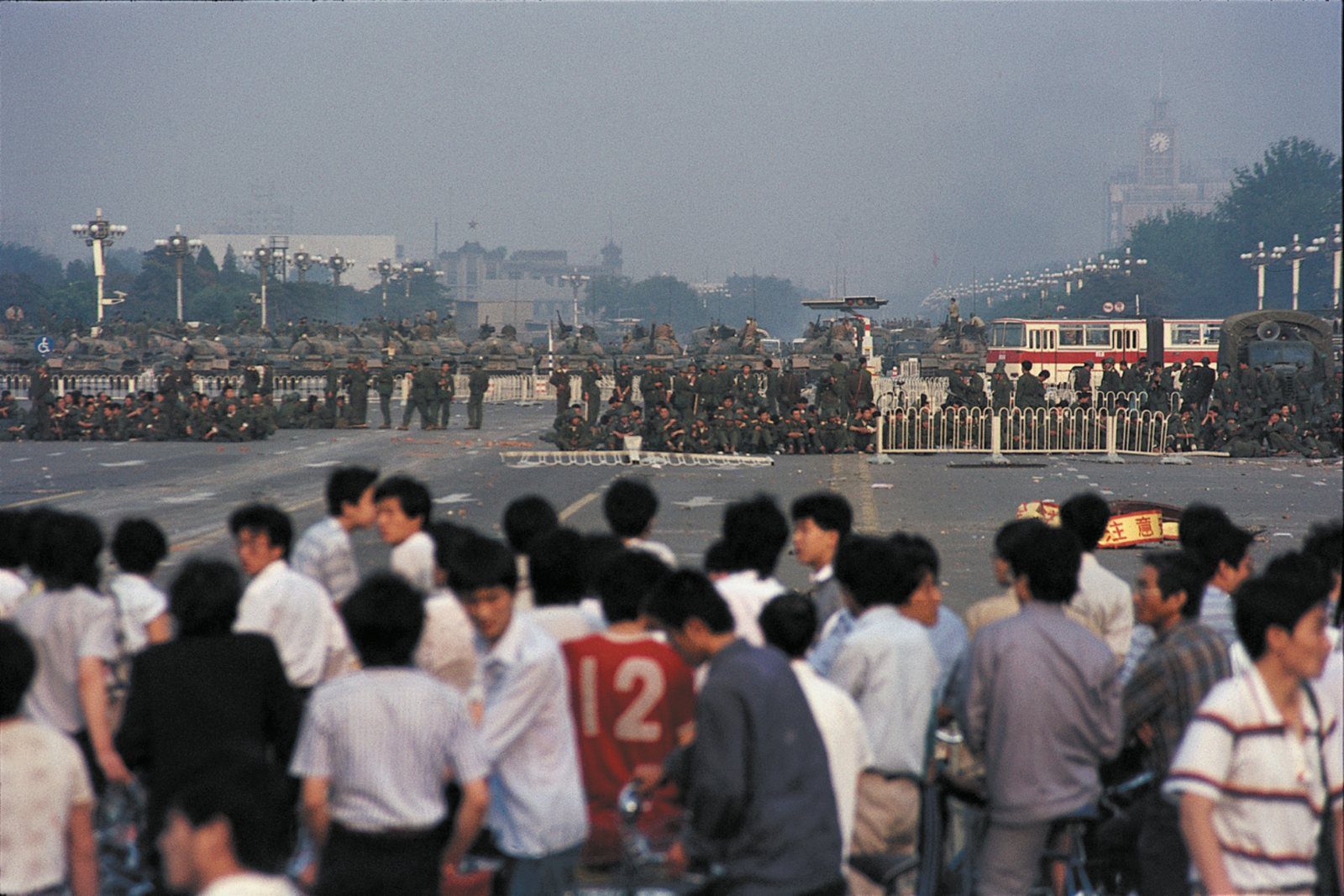 Demonstrators and troops during the Tiananmen Square protests, Beijing, June 1989