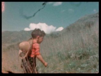 A still showing the author as a boy, from the 8mm films of Dr. Ernst Lyon, made in Perry, Utah, 1944–1945