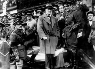 Winston Churchill, then secretary of state for war, at a procession of the 47th Division of the British army, Lille, France, October 1918