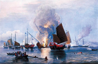 The East India Company steamship Nemesis destroying Chinese war junks at the Second Battle of Chuenpi during the Opium War, 1841; hand-colored engraving by Edward Duncan, 1843