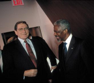 Richard Holbrooke and Kofi Annan at the United Nations, New York City, October 2000