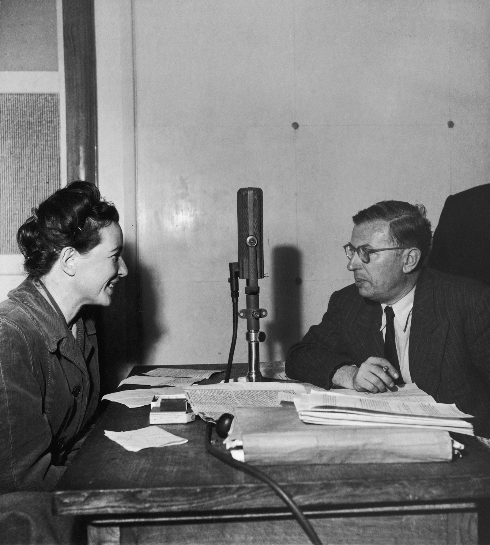 Simone de Beauvoir and Jean-Paul Sartre, Saint-Germain-des-Prés, Paris, circa 1945