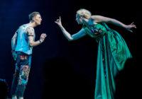 David Moorst (Puck) and Gwendoline Christie (Titania) in A Midsummer Night's Dream, Bridge Theatre, London