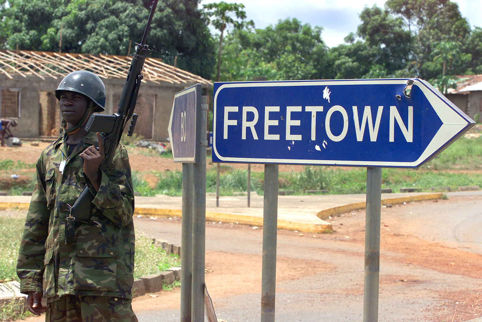 A government soldier in Masiaka, a town about 40 miles east of Sierra Leone's capital, Freetown, on the day the rebel leader Foday Sankoh was captured there, May 17, 2000