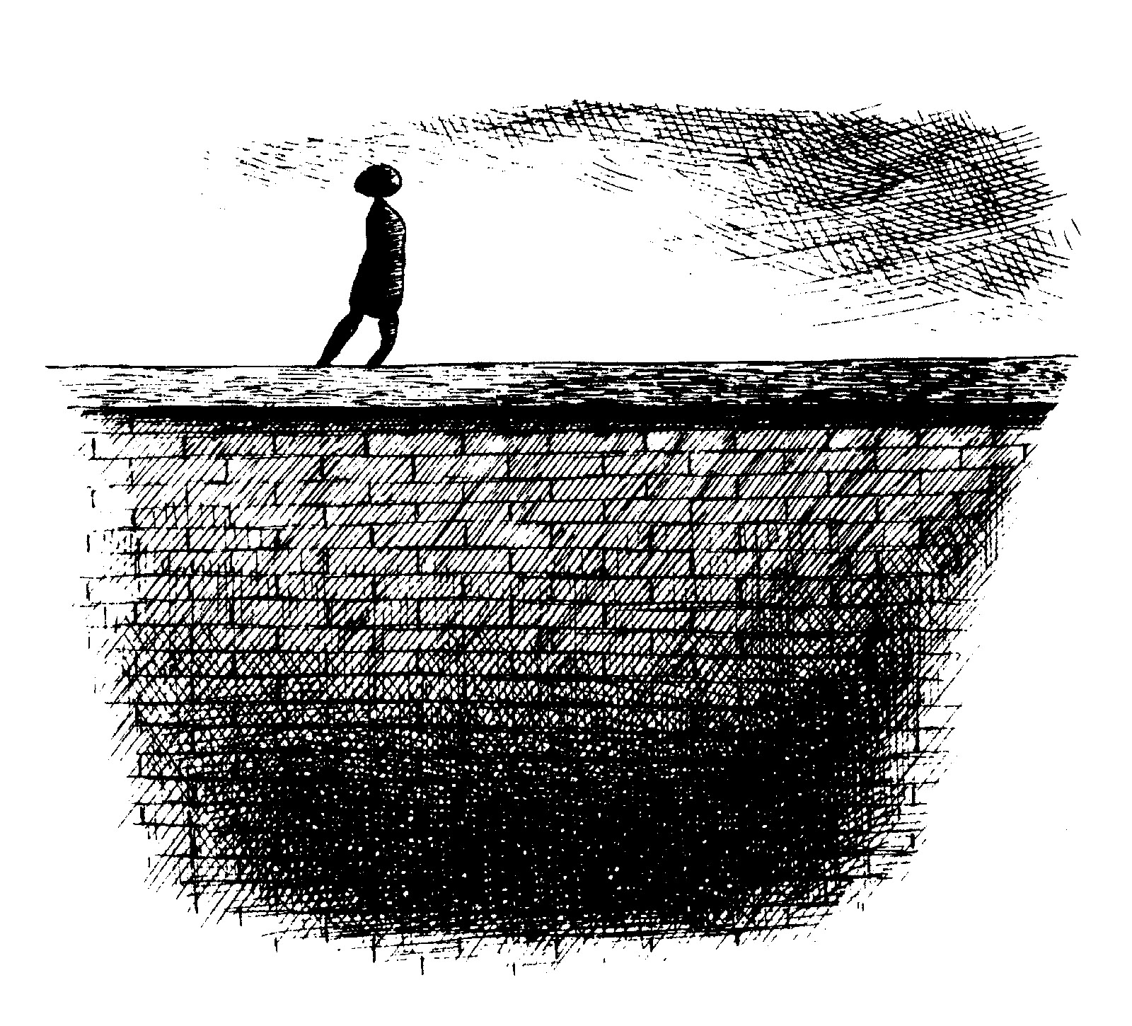 Drawing of a figure walking on top of a wall