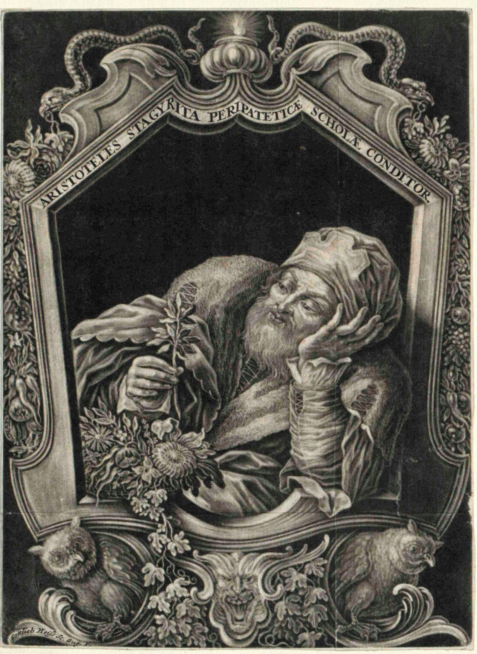 Aristotle; mezzotint by Gottlieb Heiss, 1684
