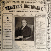 A portrait of Noah Webster in an advertisement for the first Merriam edition of Webster's dictionary, published in 1847–1848