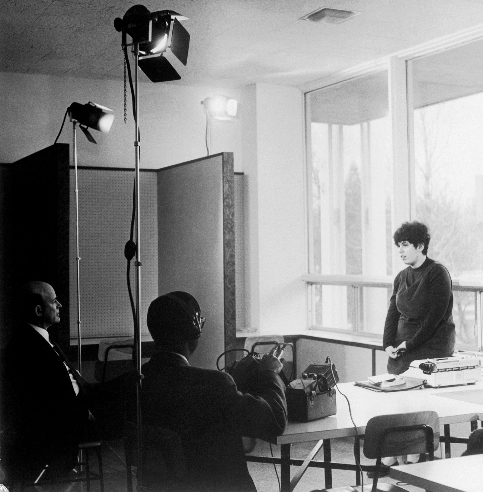 Andrea Dworkin being interviewed by a television crew, 1965