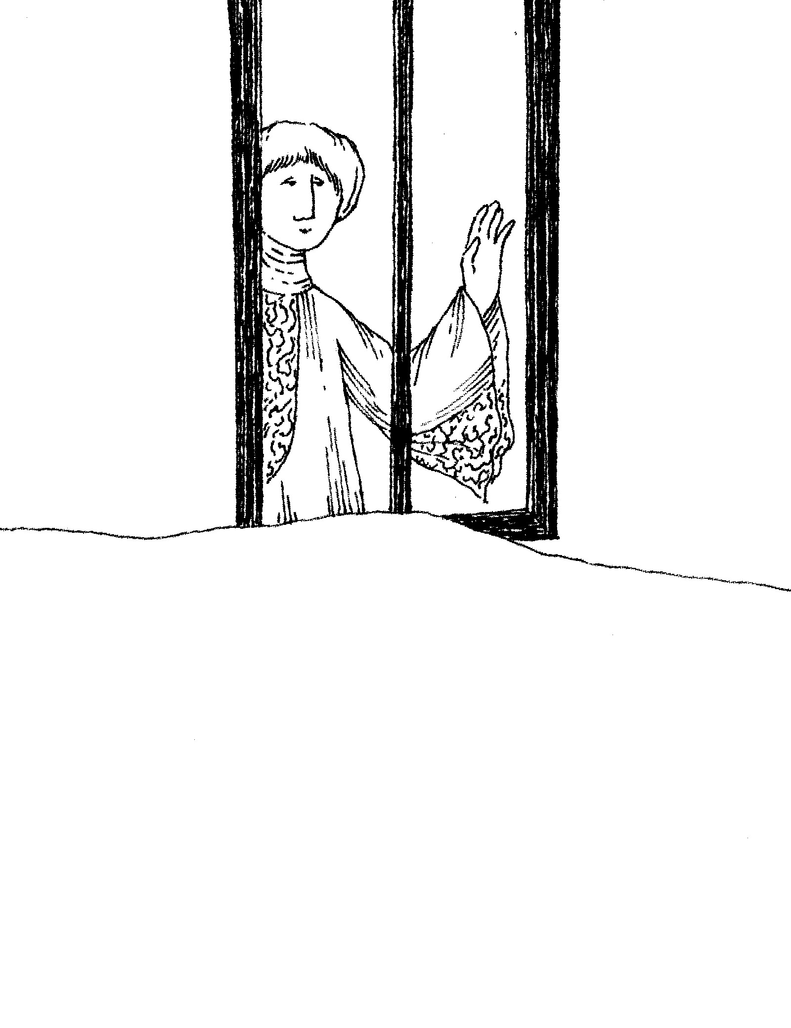 Drawing of a woman looking out a window