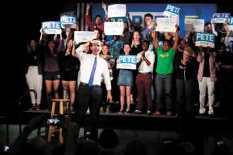 Pete Buttigieg at a presidential campaign event, Exeter, New Hampshire, May 2019