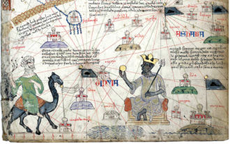 Mansa Musa, the king of Mali, approached by a Berber on camelback; detail from The Catalan Atlas, attributed to the Majorcan mapmaker Abraham Cresques, 1375