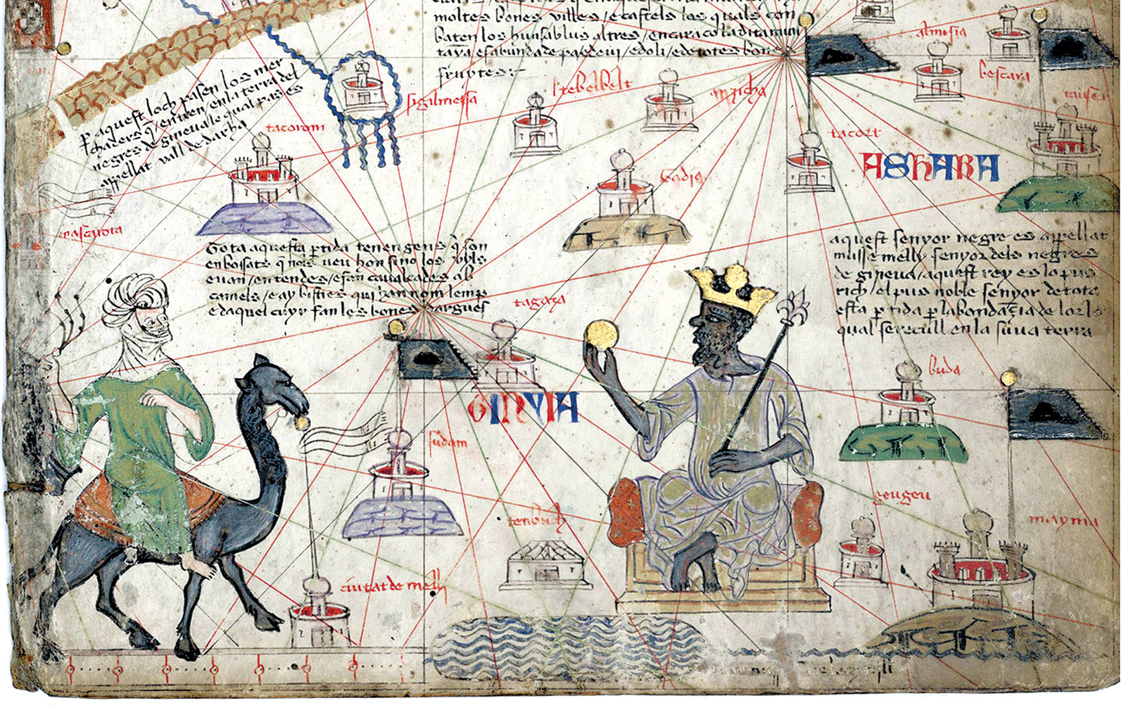 Mansa Musa, the king of Mali, approached by a Berber on camelback by Abraham Cresques, 1375
