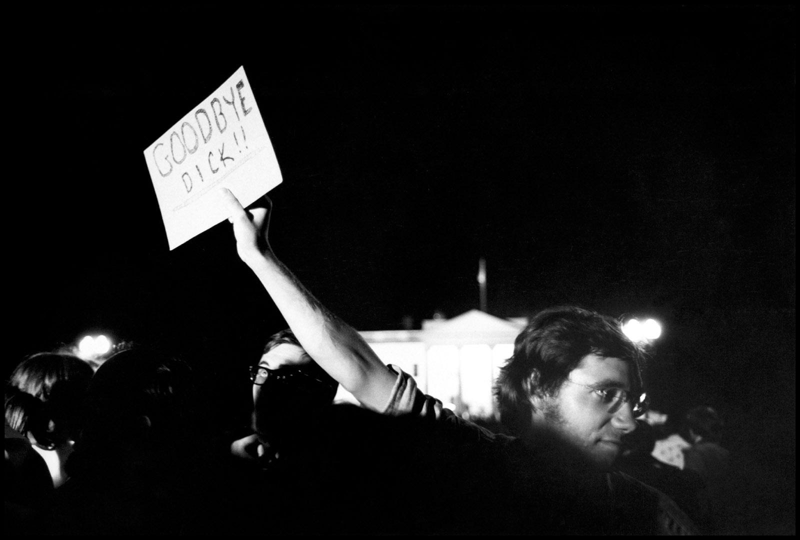 Demonstration outside White House on the night of Richard Nixon's resignation