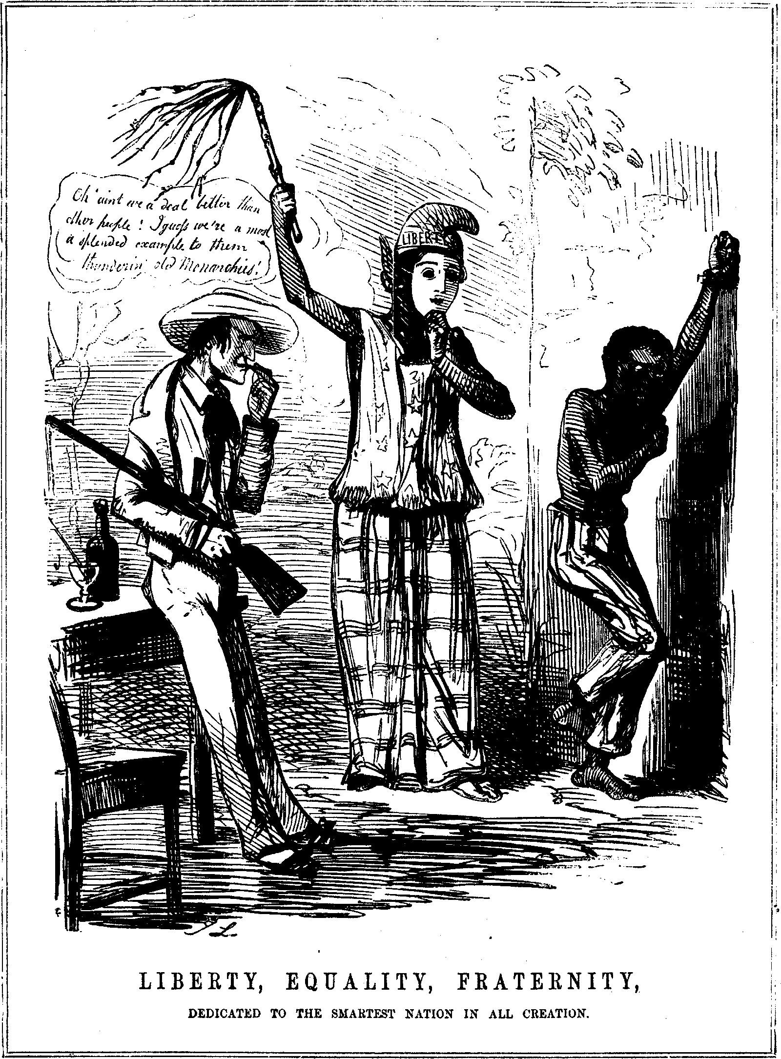 An English cartoon by John Leech satirizing the hypocrisy of proslavery Americans, 1848