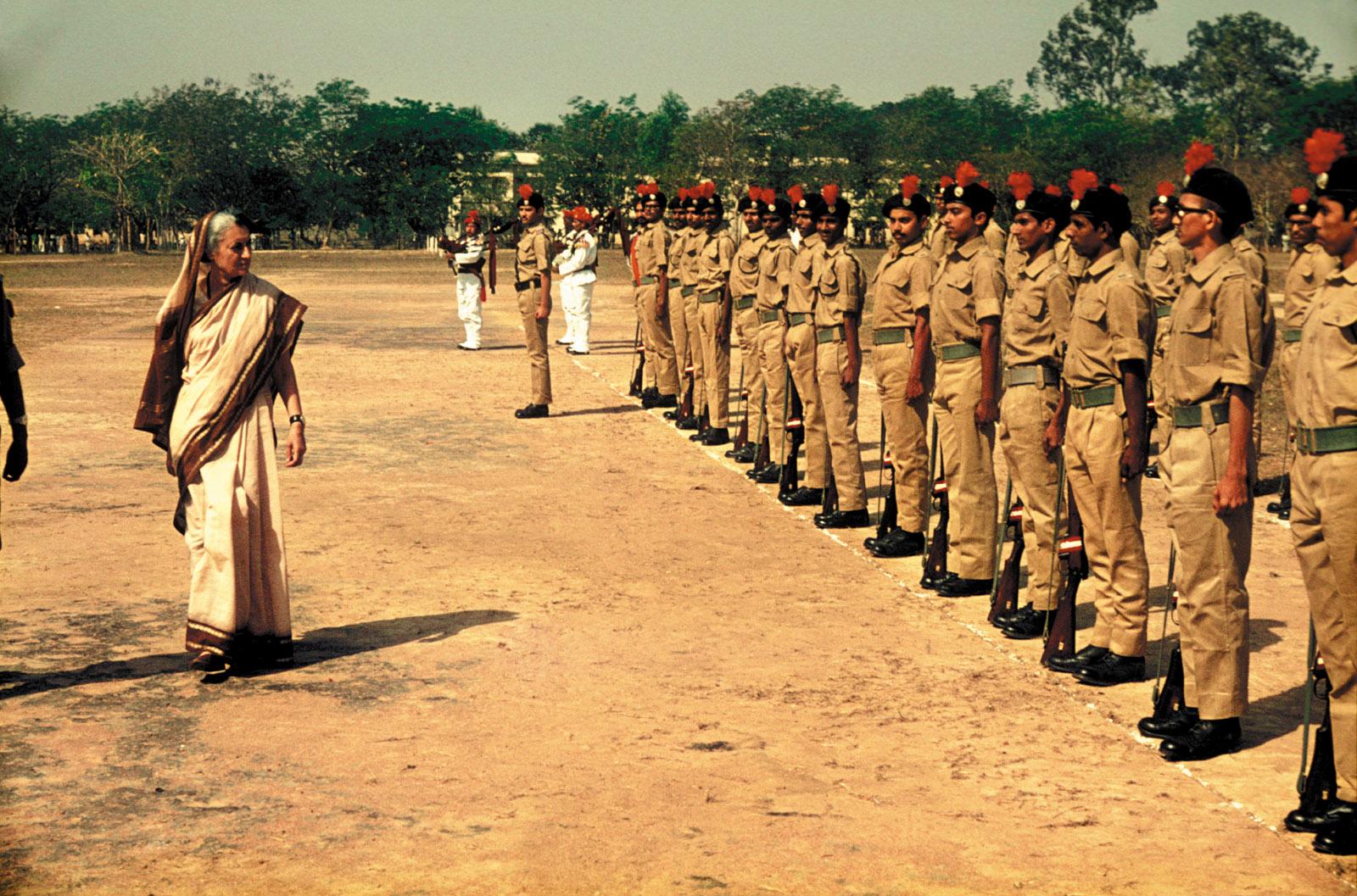 Indira Gandhi inspecting troops, Calcutta