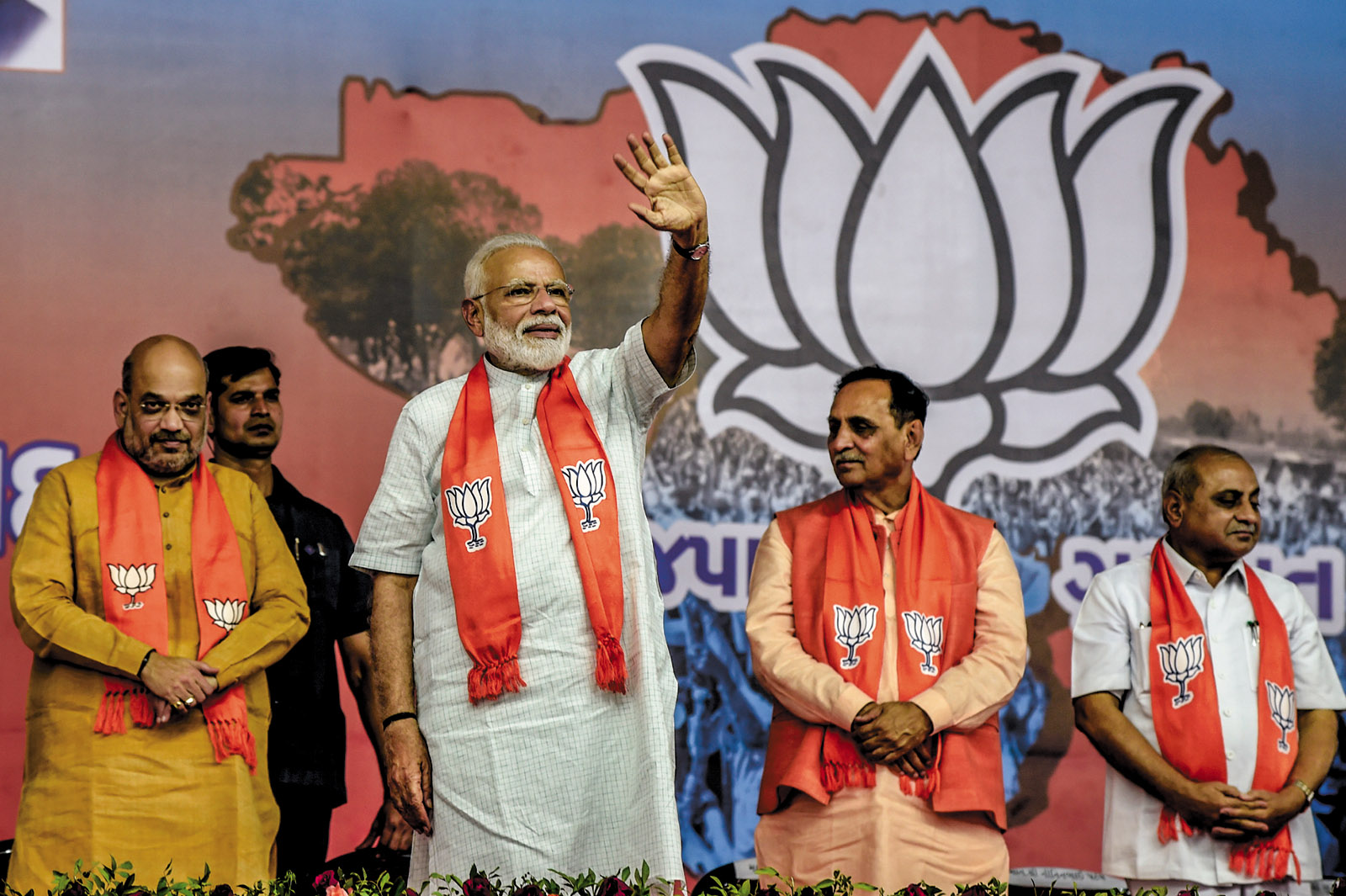 Narendra Modi at a rally after winning reelection as prime minister, 2019