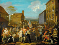 William Hogarth: The March of the Guards to Finchley, 1750. 'At right,' Fintan O'Toole writes, 'the notorious brothel-keeper Mother Douglas looks out on [English soldiers] from the King's Head Tavern, while her employees display themselves from the other windows. On the left, an infected soldier grimaces in pain as he attempts to piss against a wall to which is affixed a flyer advertising the services of a well-known VD specialist.'