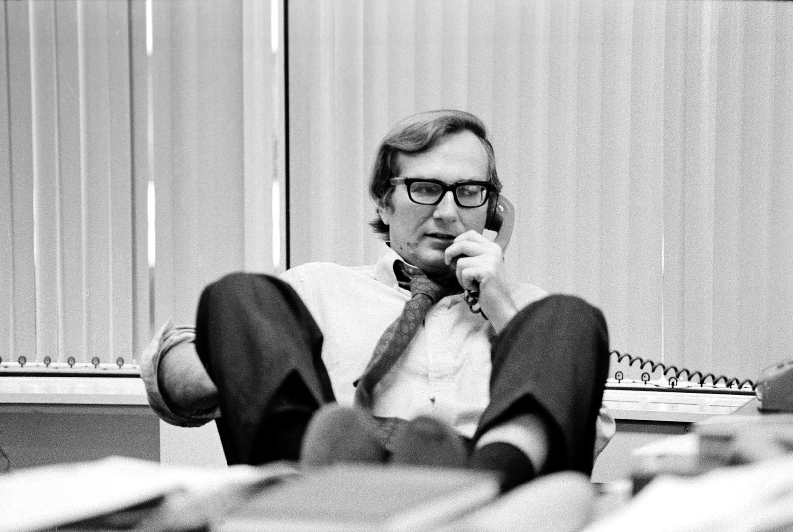 Seymour Hersh in his office at the Washington bureau of The New York Times, 1975