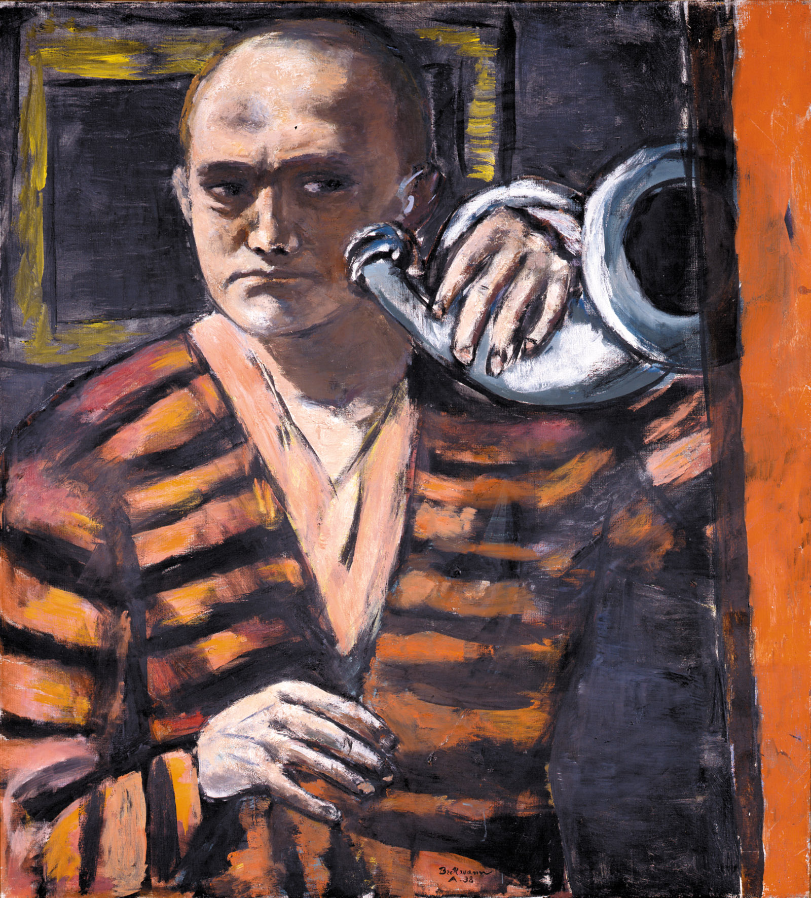 Self-Portrait with Horn by Max Beckmann