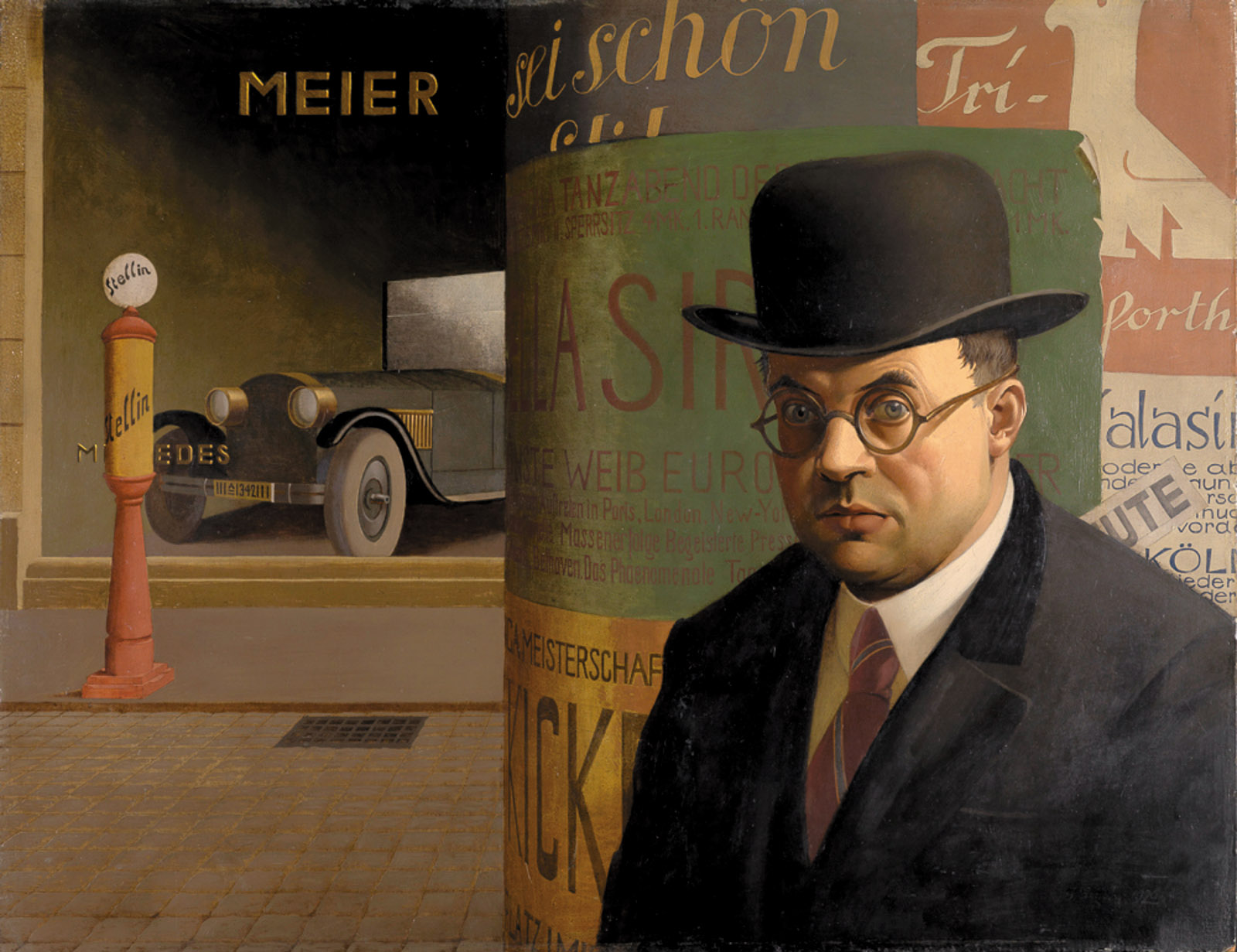 Self-Portrait in Front of an Advertising Column by Georg Scholz