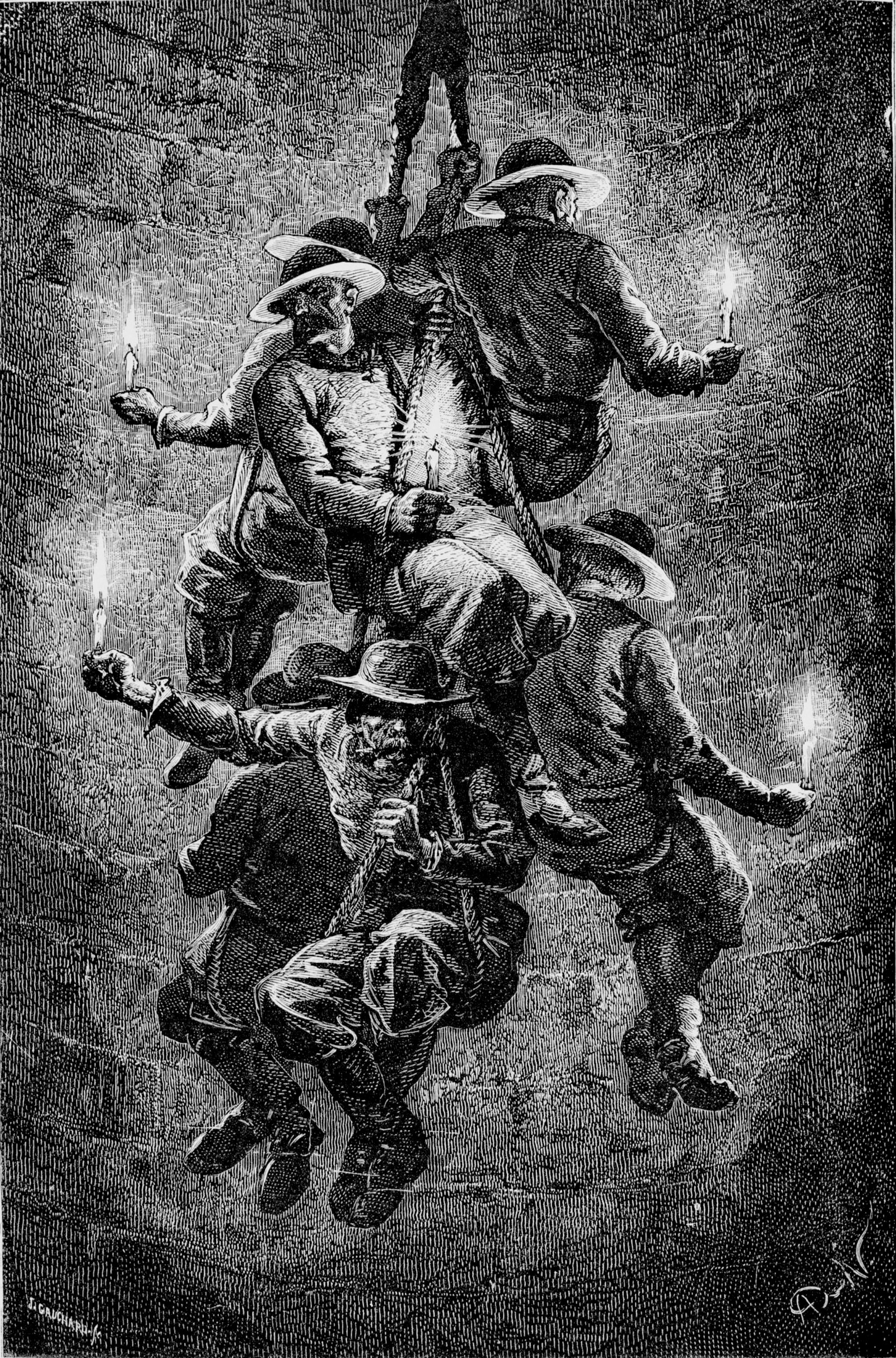 Engraving of workers in a salt mine
