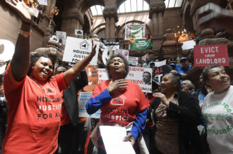 "Activists with the Upstate Downstate Housing Alliance occupying the capitol to demand legislators pass a ""universal rent control"" bill to strengthen tenants' rights, Albany, New York, June 4, 2019"