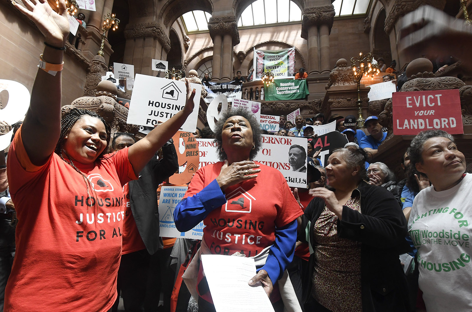 """Activists with the Upstate Downstate Housing Alliance occupying the capitol to demand legislators pass a """"universal rent control"""" bill to strengthen tenants' rights, Albany, New York, June 4, 2019"""