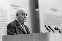 Theodor Adorno addressing an audience of German intellectuals opposed to the Emergency Acts, Frankfurt am Main, West Germany, May 28, 1968