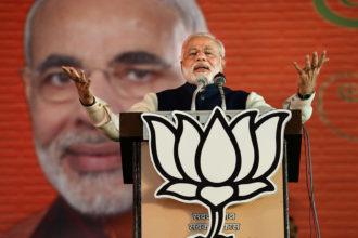 Narendra Modi addressing a national council meeting of his Bharatiya Janata Party, Delhi, India, 2014