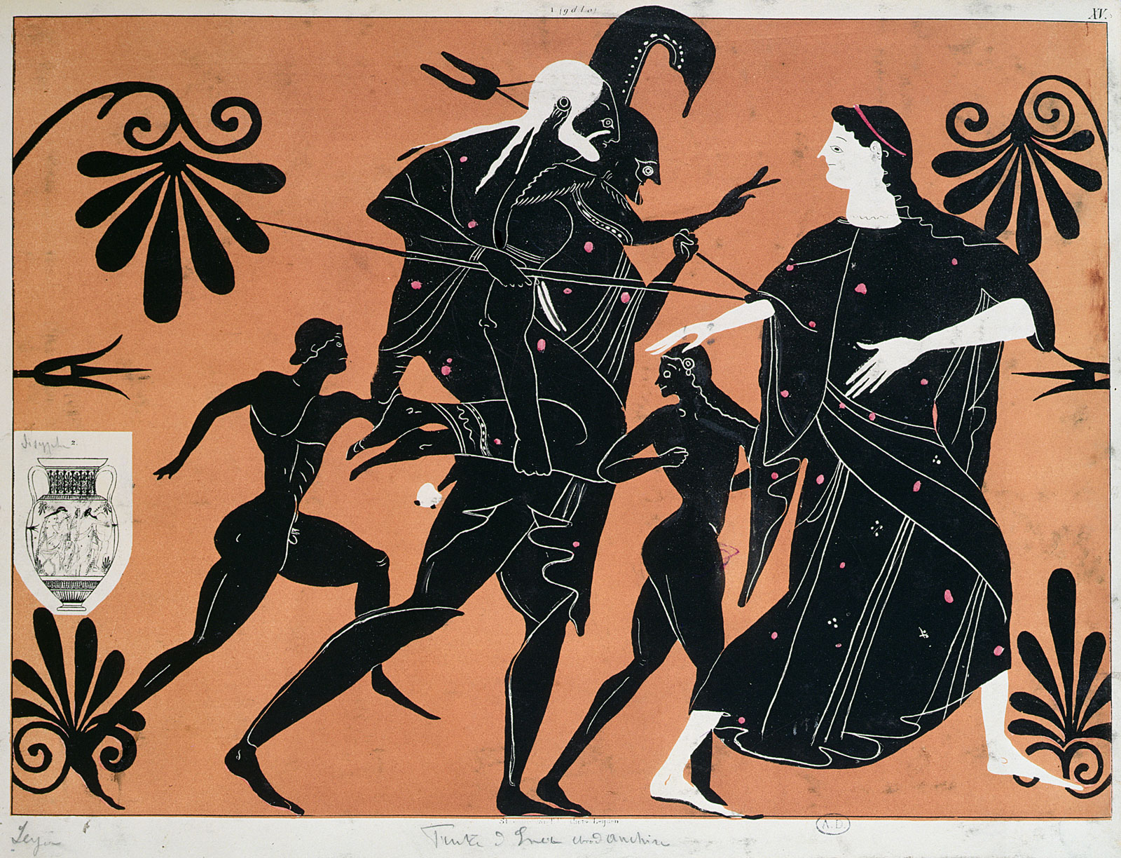 A lithograph reproduction of a scene from an ancient Greek vase depicting the flight from Troy, with Aeneas carrying his father Anchises on his back, nineteenth century