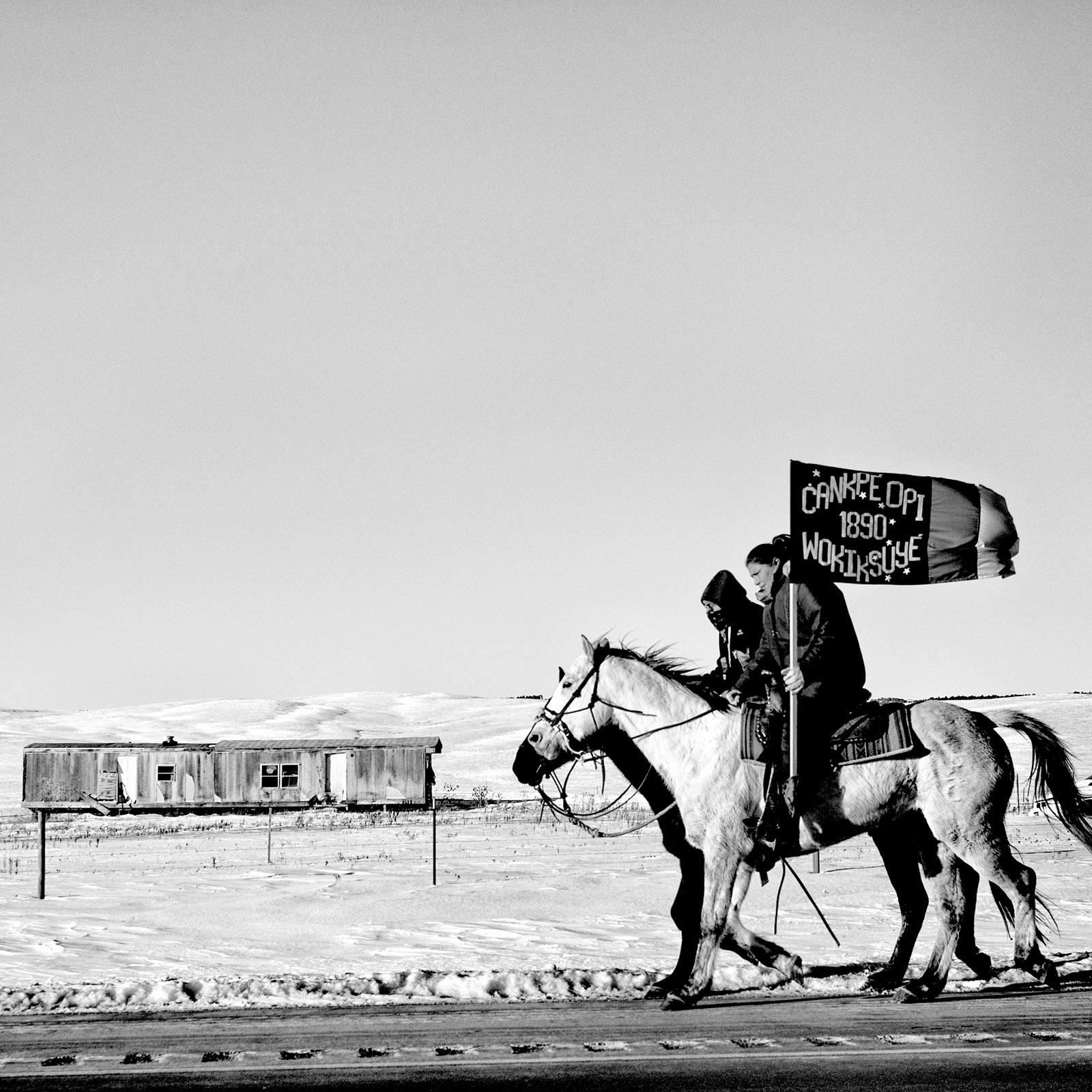 A commemoration of the Wounded Knee massacre, Pine Ridge, South Dakota, 2016