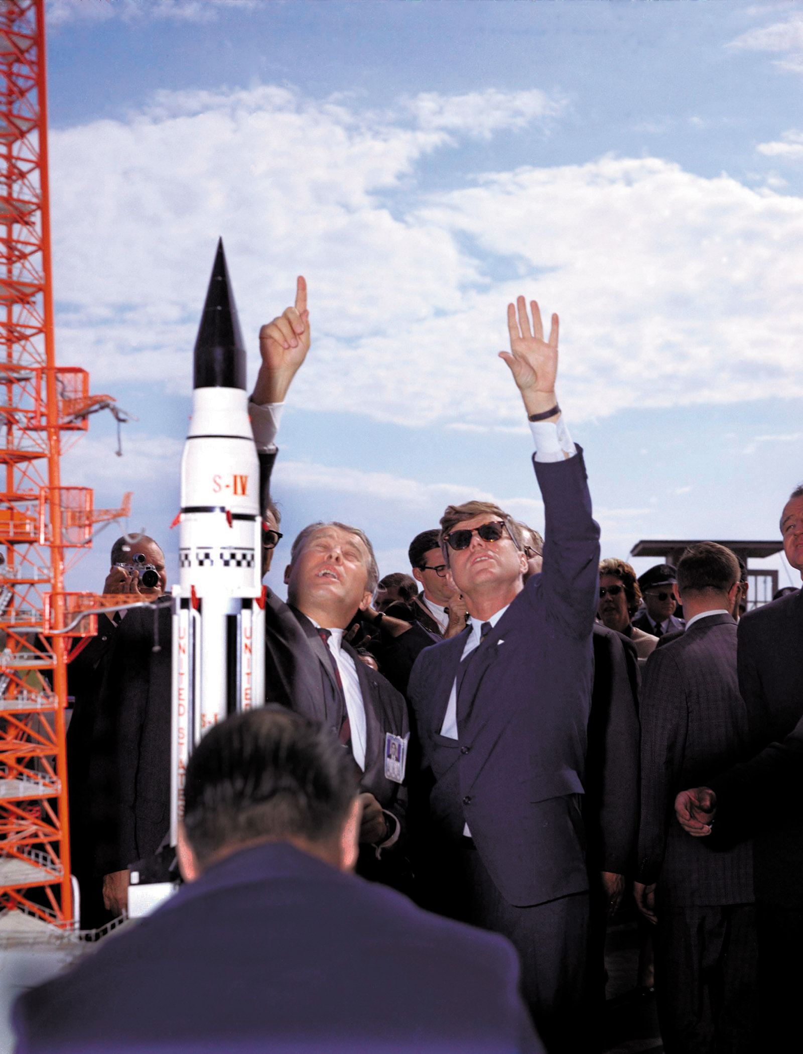 Wernher von Braun and J.F.K. with a model of the Saturn booster rocket, Cape Canaveral, November 16, 1963