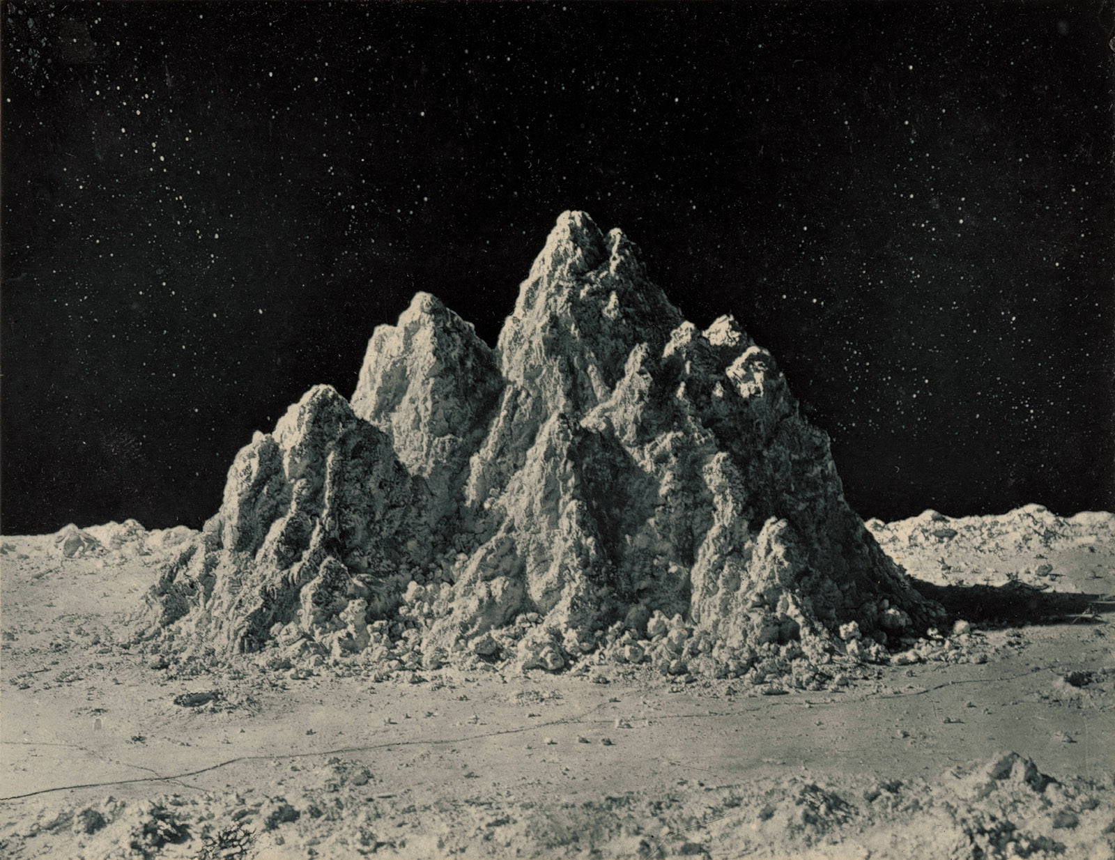 Clay model of the lunar landscape by James Nasmyth